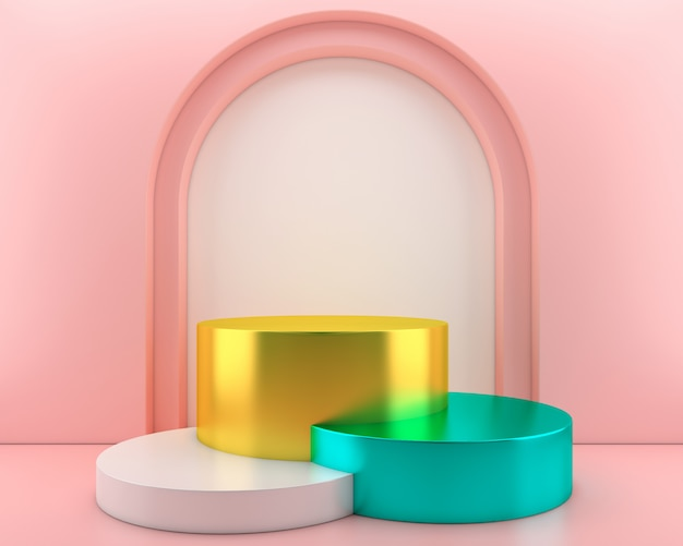 Abstract geometric shape pastel color template minimal modern style wall ,for booth podium stage display table