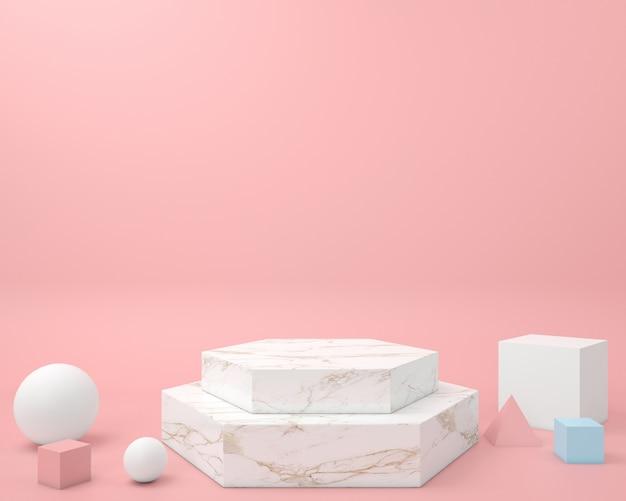 ブースの表彰台ステージ表示テーブル用の抽象的な幾何学的形状パステルカラーテンプレート最小限のモダンなスタイルの壁