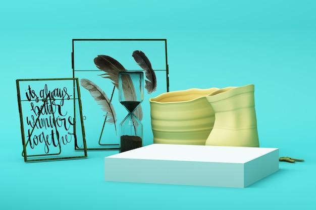 装飾と小道具、化粧品や製品の表彰台3 dレンダリングのデザインと抽象的な幾何学的形状パステルグリーン色シーン最小