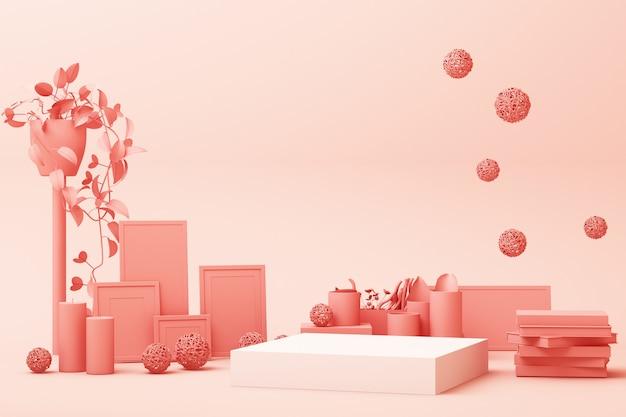 装飾と小道具、化粧品や製品の表彰台3 dレンダリングのデザインと抽象的な幾何学的形状パステルピンク色シーンミニマル