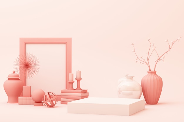 Abstract geometric shape pastel pink color scene minimal with decoration and prop, design for cosmetic or product display podium 3d render