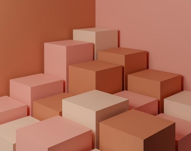 최소한의 스타일과 파스텔 색상으로 추상적 인 기하학적 모양 화장품 또는 제품 프레 젠 테이 션에 사용 3d 렌더링 및 그림