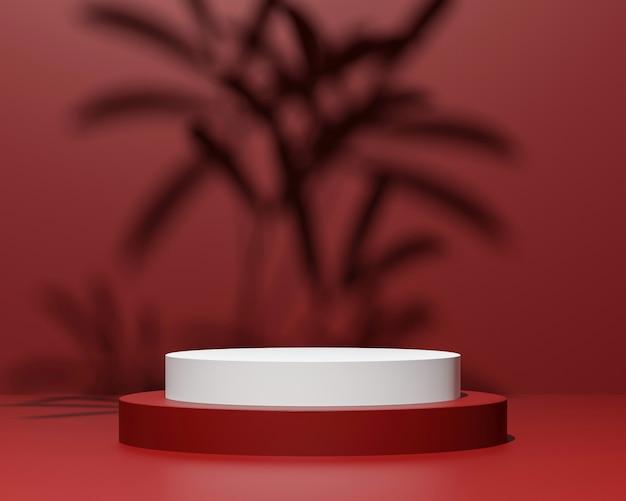 붉은 색에 최소한의 스타일로 추상적 인 기하학적 모양 화장품 또는 제품 프레 젠 테이 션에 사용 3d 렌더링 및 그림