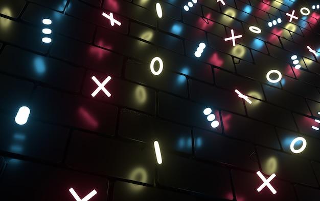 Абстрактные геометрические фигуры 3d рендеринг лазерное шоу неоновые огни