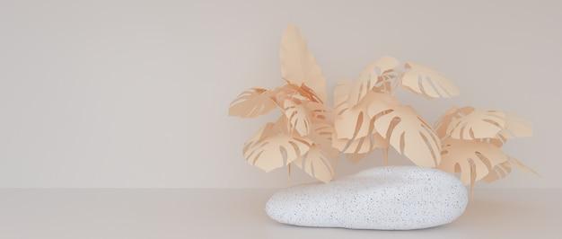Абстрактные геометрические формы терраццо или мраморная поверхность, украшенная листьями монстеры.