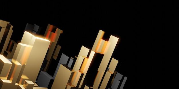 抽象的な幾何学的な正方形のバーの背景反射3dイラスト