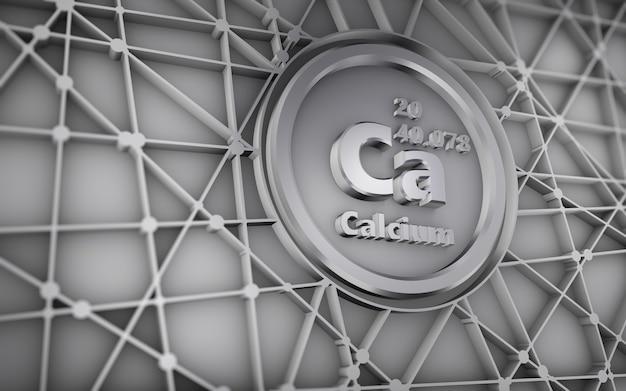 화학 원소 칼슘의 추상적 인 기하학적 상징 3d 렌더링.