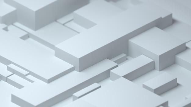 等尺性のランダムなボックスと抽象的な幾何学的な白い背景