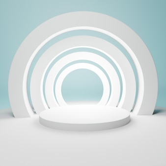 Abstract geometric white podium with arcs