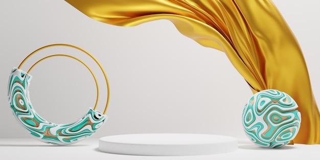 Абстрактные геометрические с золотой тканью элегантный подиум сцена для презентации продукта. 3d иллюстрация