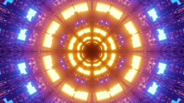Abstract geometrical 3d illustration of colorful luminous circles with bright yellow and blue lights forming perspective spherical tunnel