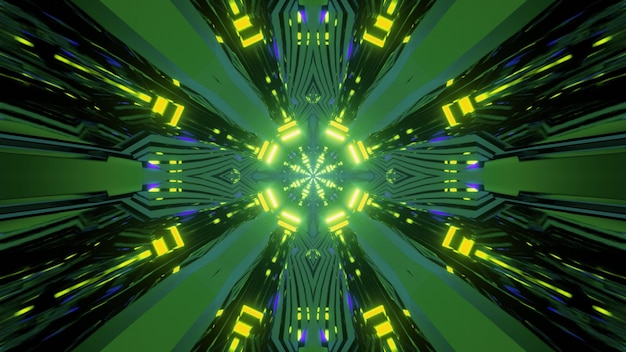 Abstract geometrical 3d illustration of moving lines and round element with bright green neon light