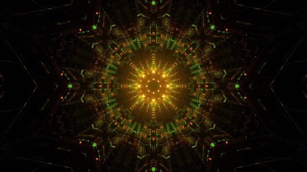 Абстрактная геометрическая 3d иллюстрация освещения симметричного круга мандалы зеленого и желтого цветов на черном фоне
