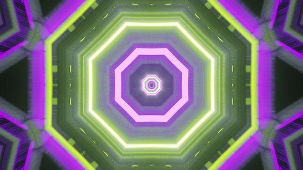 Abstract geometrical background 4k uhd 3d illustration of futuristic style architecture design of sci fi spaceship corridor with gleaming green and purple neon illumination in shape of octagons