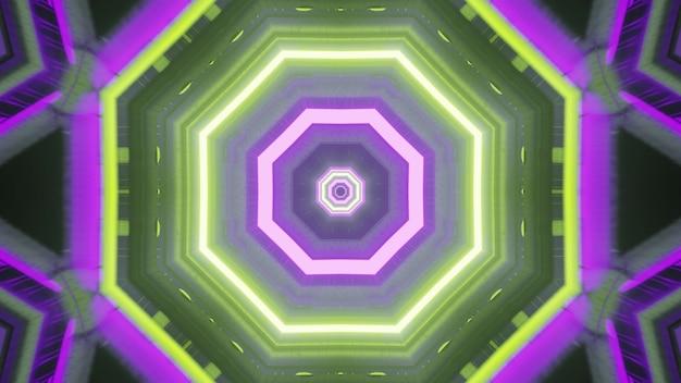 추상적인 기하학적 배경 4k uhd 3d는 8각형 모양의 빛나는 녹색 및 보라색 네온 조명이 있는 공상 과학 우주선 복도의 미래 스타일 건축 디자인을 보여줍니다.