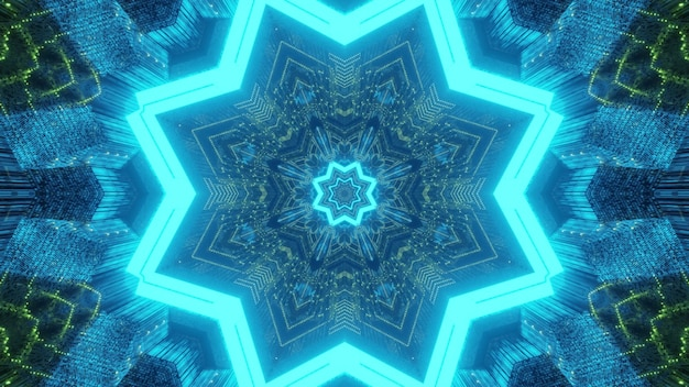 Abstract geometrical background futuristic tunnel with star shaped holes and kaleidoscopic in glowing blue and green neon lights