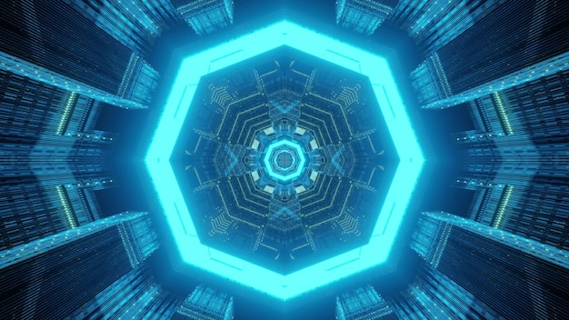 Abstract geometrical background through endless futuristic style tunnel with octagonal frames illuminated by bright neon lamps