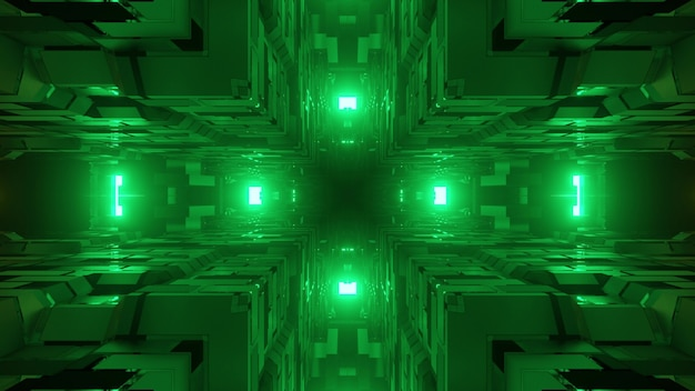 Abstract geometrical three dimensional illustration of bright green lights illuminating between uneven cube corners made of squares and cells on dark