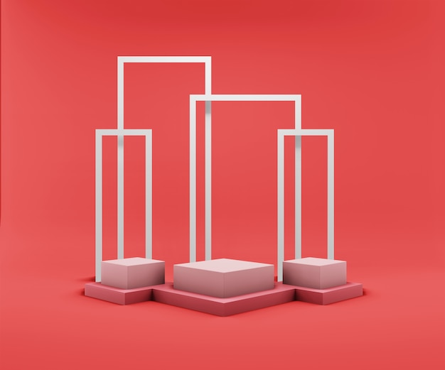 製品展示用の抽象的なジオメトリ表彰台