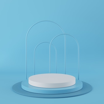 Abstract geometry shape blue color podium with white color on blue background for product. minimal concept. 3d rendering