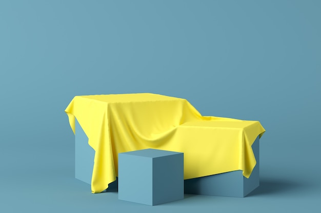 Abstract geometry shape blue color podium with yellow fabric on blue background for product. minimal concept. 3d rendering