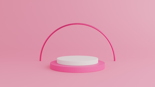 Abstract geometry shape pink color podium with white color on pink background for product. 3d rendering
