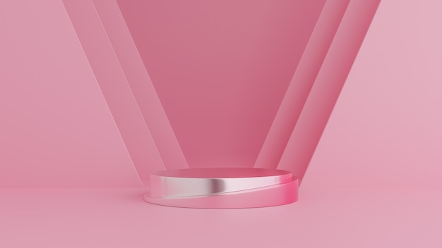 Abstract geometry shape, podium on pink color background for product. minimal concept. 3d rendering
