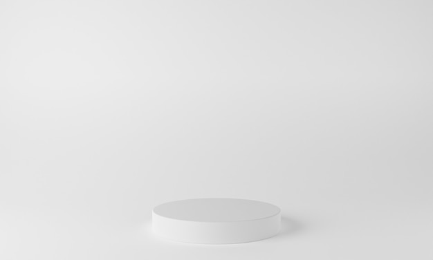 디스플레이 및 제품 프레젠테이션을 위한 흰색 배경이 있는 추상 형상 모양 연단 장면. 3d 렌더링
