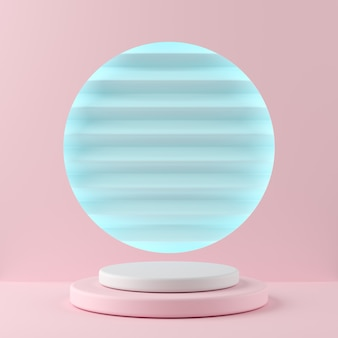 Abstract geometry shape white color and pink color podium on blue color background for product. minimal concept. 3d rendering