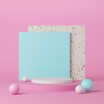 제품에 대 한 파란색과 흰색 공 분홍색 배경에 추상 기하학 모양 흰색 연단. 최소한의 개념. 3d 렌더링