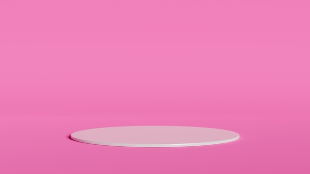 Abstract geometry shape white color podium on pink color background for product. 3d rendering