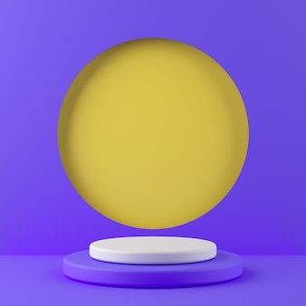 Abstract geometry shape white color and purple color podium on yellow color background for product. minimal concept. 3d rendering