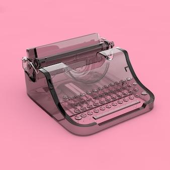 Абстрактная стеклянная старая винтажная ретро пишущая машинка на розовом фоне. 3d рендеринг