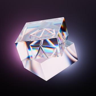 그라데이션 빛, 3d 일러스트와 함께 검은 배경에 분산과 추상 유리 사각 크리스탈 렌더링