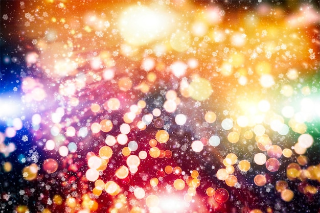 Abstract glitter lights and stars. merry christmas happy new year greeting card concept lot of snowflakes snowfall on winter