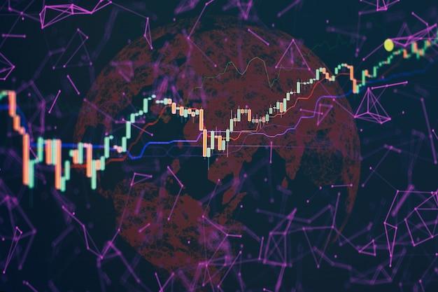 Абстрактная глобальная бизнес-голограмма земли. бизнес и технология концепции гистограммы, диаграммы, финансовые показатели. абстрактные светящиеся обои интерфейса диаграммы форекс. инвестиции, торговля, акции, финансы
