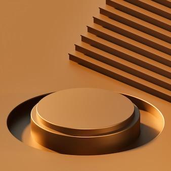 추상 광택 색상 기하학적 모양 배경, 연단 디스플레이 또는 쇼케이스를 위한 현대적인 미니멀리즘, 3d 렌더링