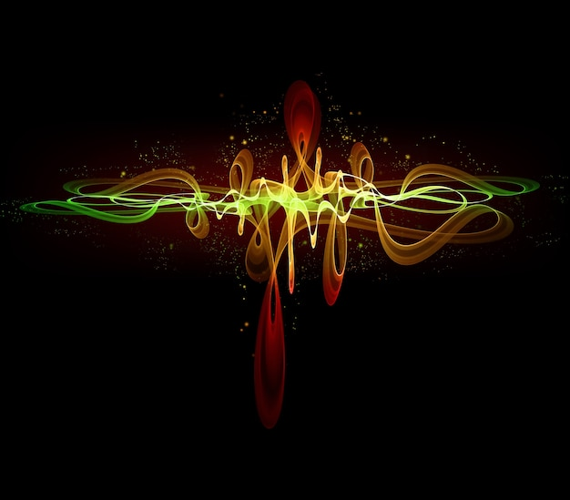 Абстрактный светящийся эквалайзер на черном фоне