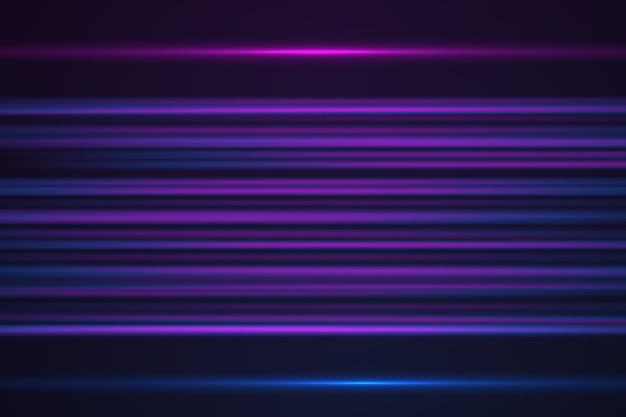 Abstract glowing horizontal lines in purple neon color background