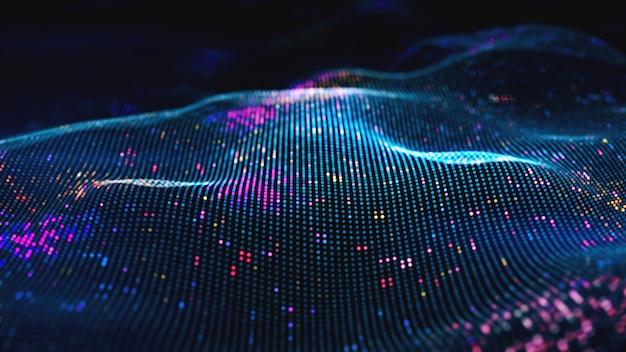 Абстрактные светящиеся виртуальные нейронные сети. иллюстрация концепции 3d футуристического кодирования или искусственного интеллекта
