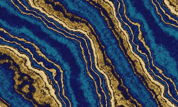추상 금색과 파란색 시멘트 벽 배경입니다.