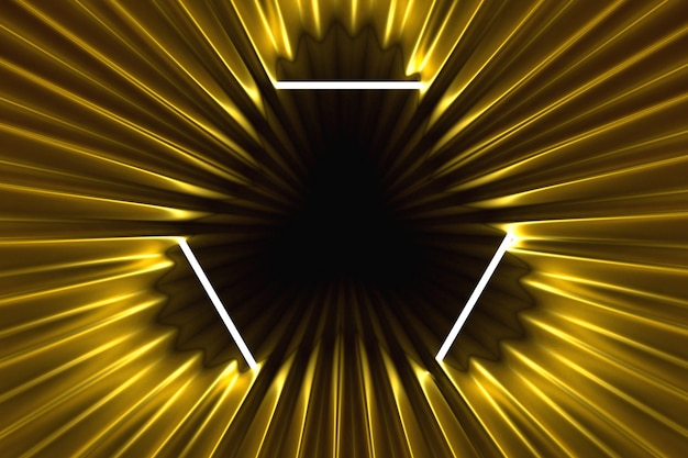Abstract gold background illuminated with neon frame illuminated 3d illustration