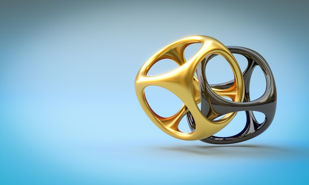 Abstract gold and black geometric shapes on light blue background. 3d render