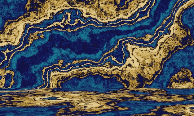 Abstract gold and blue cement wall background.