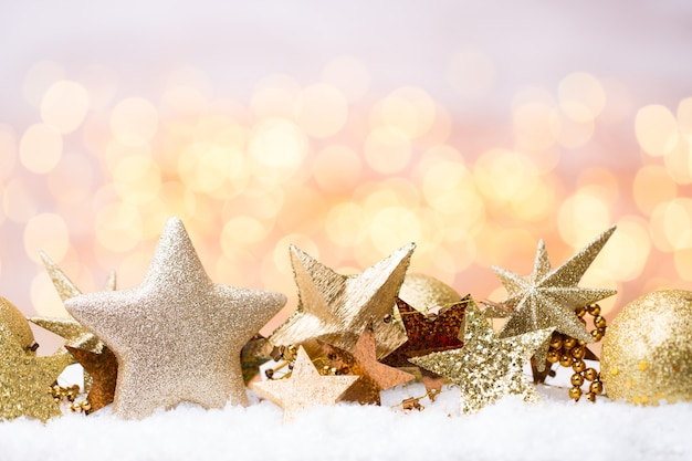 Abstract gold bokeh christmas and new year theme background