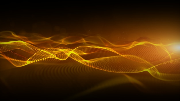 Abstract gold color digital particles wave with bokeh and light motion background