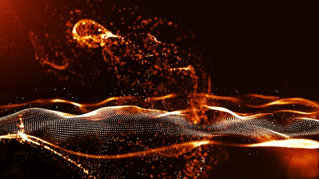 Abstract gold color digital particles wave with dust and light background