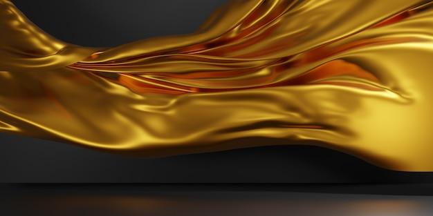Абстрактная золотая роскошная ткань фон. 3d иллюстрация