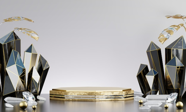 Abstract gold luxury stage platform with black crystal, for advertising product display, 3d rendering.
