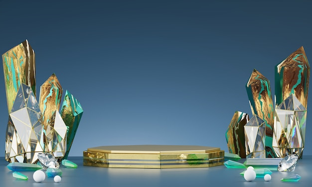 Abstract gold luxury stage platform with emerald and amber crystal, for advertising product display, 3d rendering.